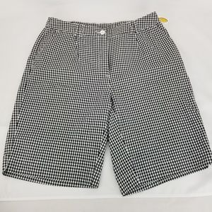 TALBOTS Black White Checkered Stretch Shorts Knee